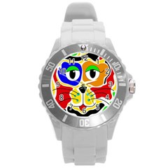 Colorful cat Round Plastic Sport Watch (L)