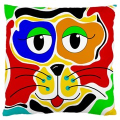 Colorful cat Large Cushion Case (One Side)