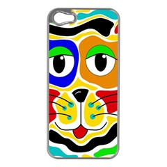 Colorful cat Apple iPhone 5 Case (Silver)