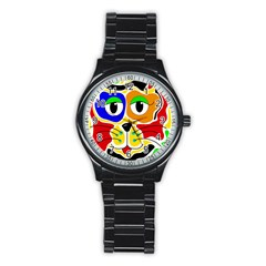 Colorful cat Stainless Steel Round Watch