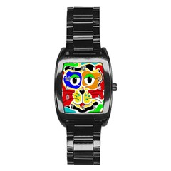 Colorful cat Stainless Steel Barrel Watch