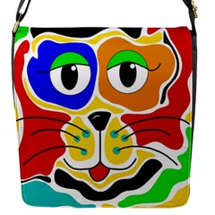 Colorful cat Flap Messenger Bag (S)