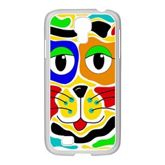 Colorful cat Samsung GALAXY S4 I9500/ I9505 Case (White)