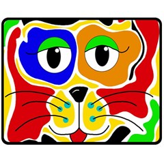 Colorful cat Double Sided Fleece Blanket (Medium)