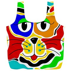 Colorful cat Full Print Recycle Bags (L)