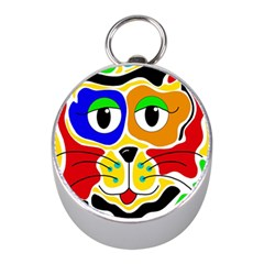 Colorful cat Mini Silver Compasses