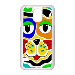 Colorful cat Samsung Galaxy S5 Case (White)