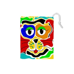 Colorful cat Drawstring Pouches (Small)