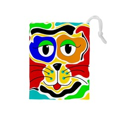 Colorful cat Drawstring Pouches (Medium)