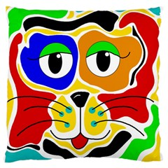 Colorful cat Large Flano Cushion Case (Two Sides)