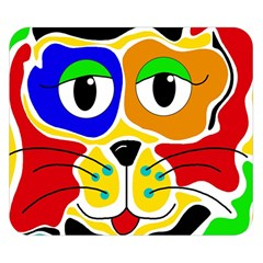 Colorful cat Double Sided Flano Blanket (Small)