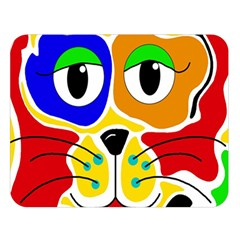Colorful cat Double Sided Flano Blanket (Large)