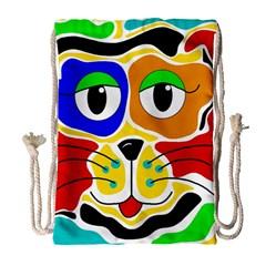 Colorful cat Drawstring Bag (Large)
