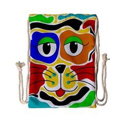 Colorful cat Drawstring Bag (Small)