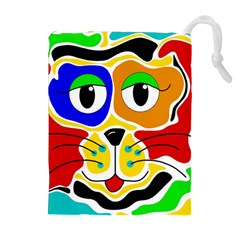 Colorful cat Drawstring Pouches (Extra Large)