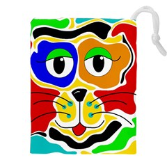 Colorful cat Drawstring Pouches (XXL)