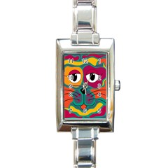 Colorful cat 2  Rectangle Italian Charm Watch