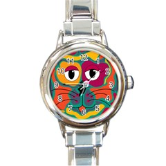 Colorful cat 2  Round Italian Charm Watch