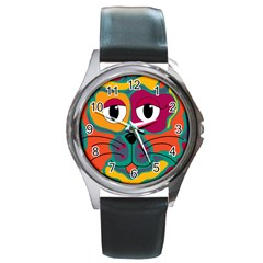 Colorful cat 2  Round Metal Watch