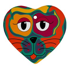 Colorful cat 2  Ornament (Heart)