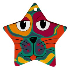 Colorful cat 2  Ornament (Star)