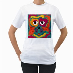 Colorful cat 2  Women s T-Shirt (White) (Two Sided)