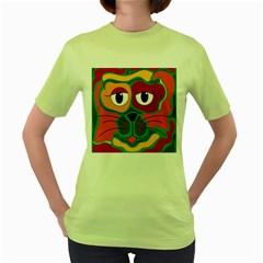 Colorful cat 2  Women s Green T-Shirt