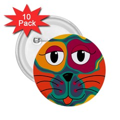 Colorful cat 2  2.25  Buttons (10 pack)