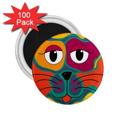 Colorful cat 2  2.25  Magnets (100 pack)