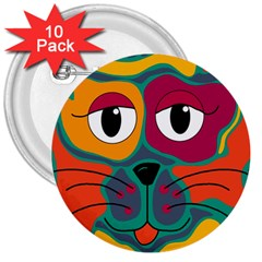Colorful cat 2  3  Buttons (10 pack)