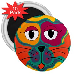 Colorful cat 2  3  Magnets (10 pack)
