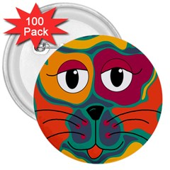 Colorful cat 2  3  Buttons (100 pack)