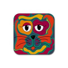 Colorful cat 2  Rubber Coaster (Square)