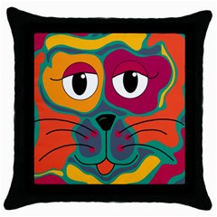 Colorful cat 2  Throw Pillow Case (Black)