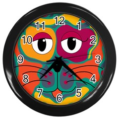 Colorful cat 2  Wall Clocks (Black)