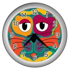 Colorful cat 2  Wall Clocks (Silver)
