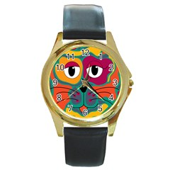 Colorful cat 2  Round Gold Metal Watch