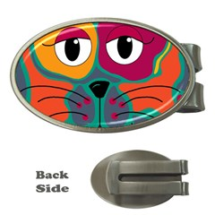 Colorful cat 2  Money Clips (Oval)