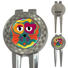 Colorful cat 2  3-in-1 Golf Divots