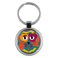 Colorful cat 2  Key Chains (Round)