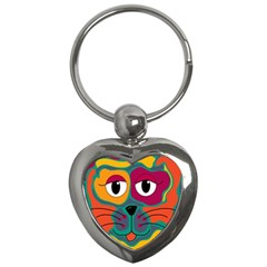 Colorful cat 2  Key Chains (Heart)