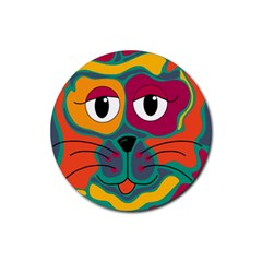 Colorful cat 2  Rubber Coaster (Round)
