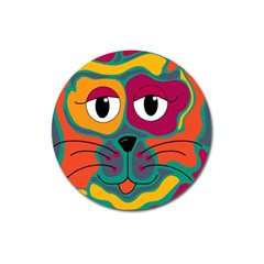 Colorful cat 2  Magnet 3  (Round)