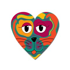 Colorful cat 2  Heart Magnet