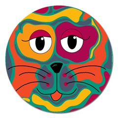 Colorful cat 2  Magnet 5  (Round)