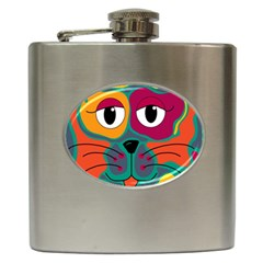 Colorful cat 2  Hip Flask (6 oz)