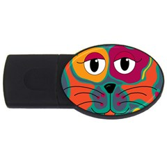 Colorful cat 2  USB Flash Drive Oval (2 GB)
