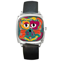 Colorful cat 2  Square Metal Watch