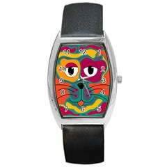 Colorful cat 2  Barrel Style Metal Watch