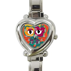 Colorful cat 2  Heart Italian Charm Watch